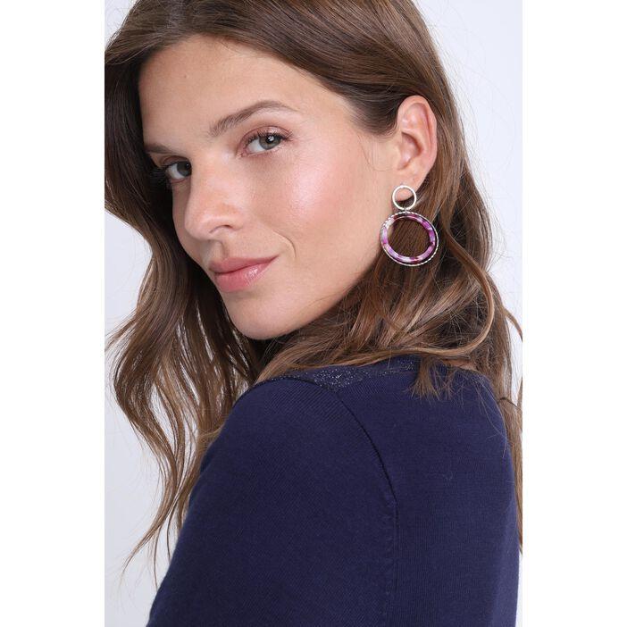 Boucles d'oreilles anneaux rose femme