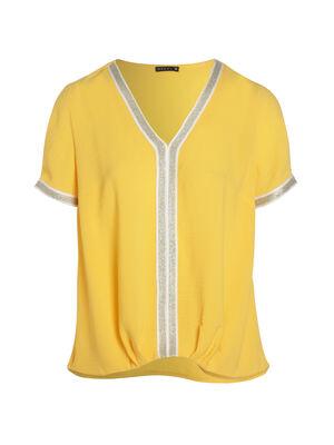 Blouse manches courtes uni jaune or femme