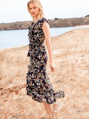 Robe longue imprime bleu marine femme