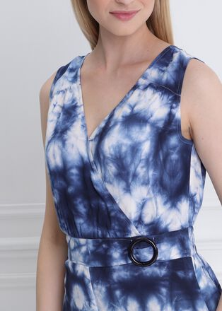 Combinaison imprimes fleurs bleu femme