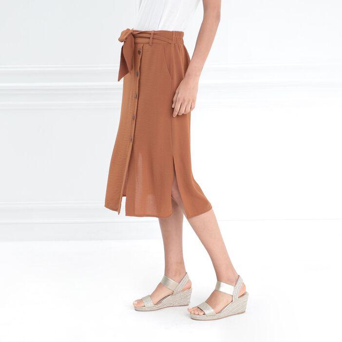 Jupe droite ceinture nœud marron cognac femme