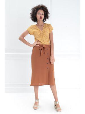 Jupe droite ceinture noeud marron cognac femme