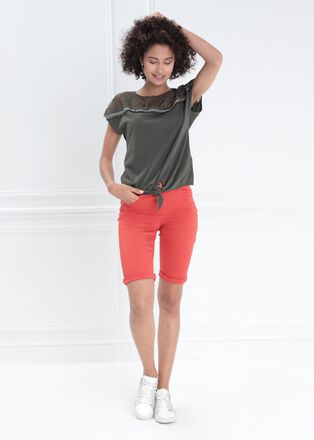T shirt manches courtes noue vert kaki femme
