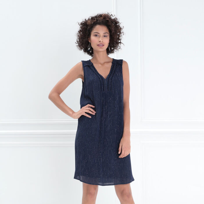 Robe courte fluide col en V bleu foncé femme