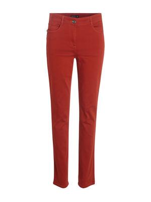 Pantalon ajuste zip poches rouge femme