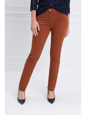 Pantalon ajuste zip poches marron femme