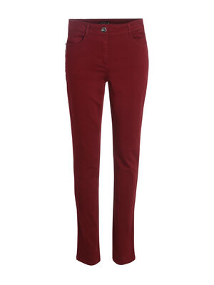 Pantalon ajuste zip poches rouge fonce femme
