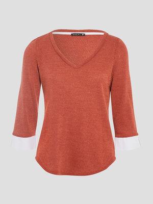 T shirt manches 34 2 en 1 marron fonce femme