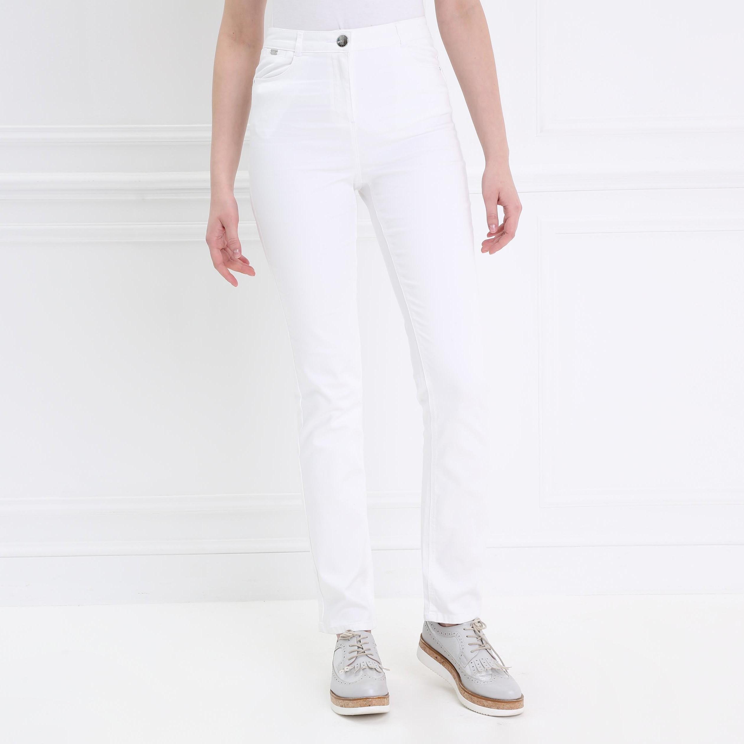 Pantalon Droit Taille Haute Blanc Femme | Bréal