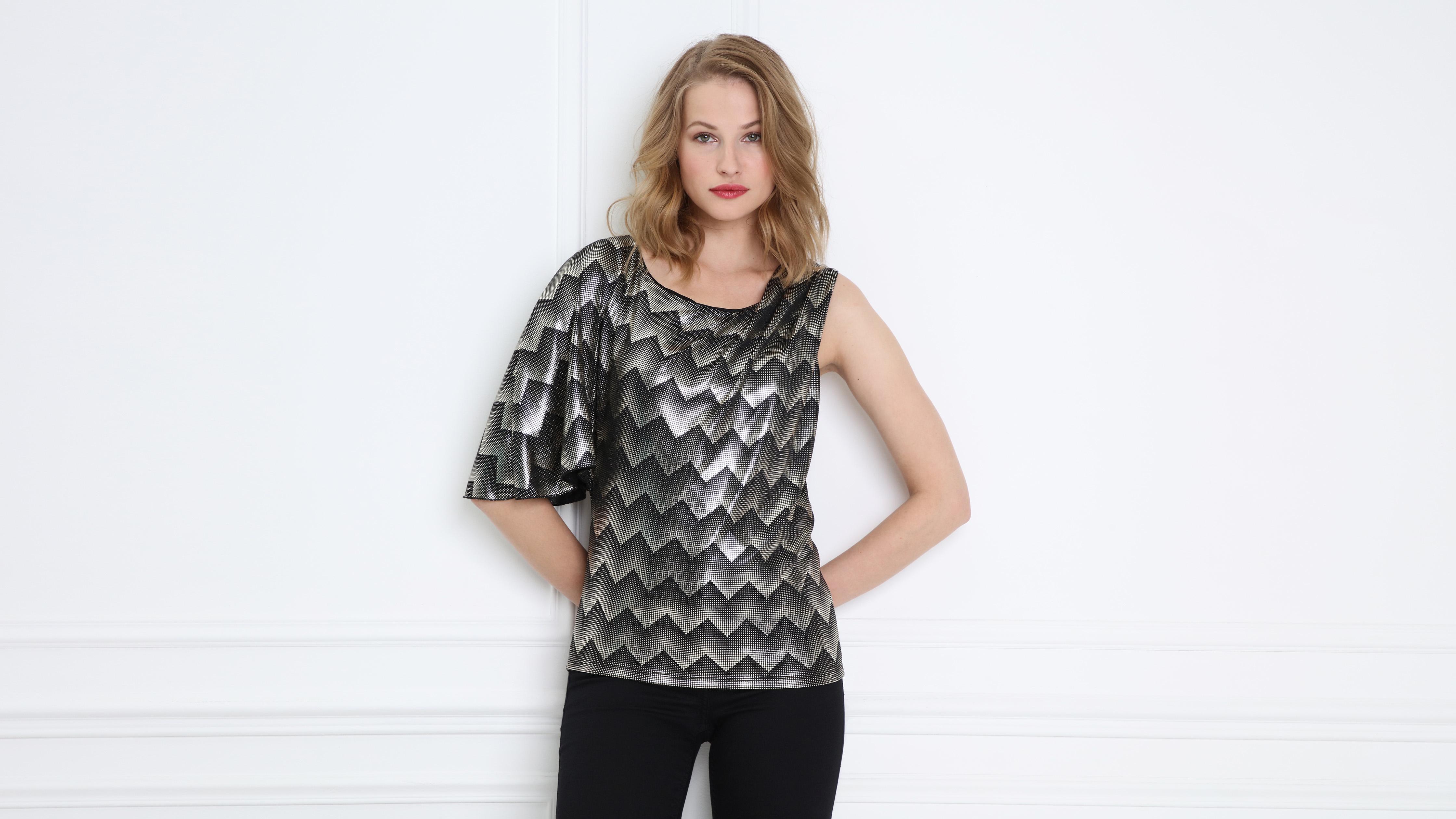 T Femme Asymétriques Manches Shirt Noir Yb7yfI6gv