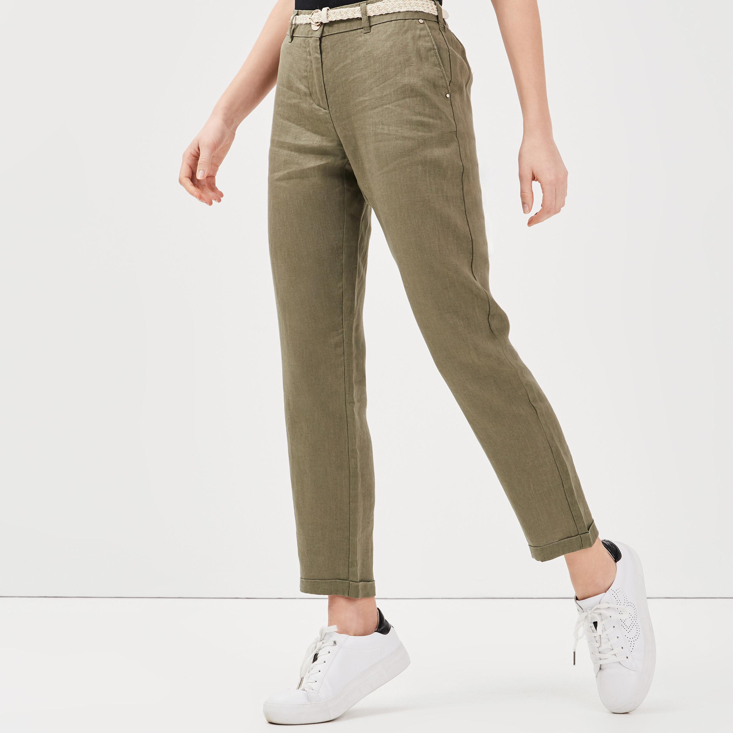 Pantalon chino taille basculée vert kaki