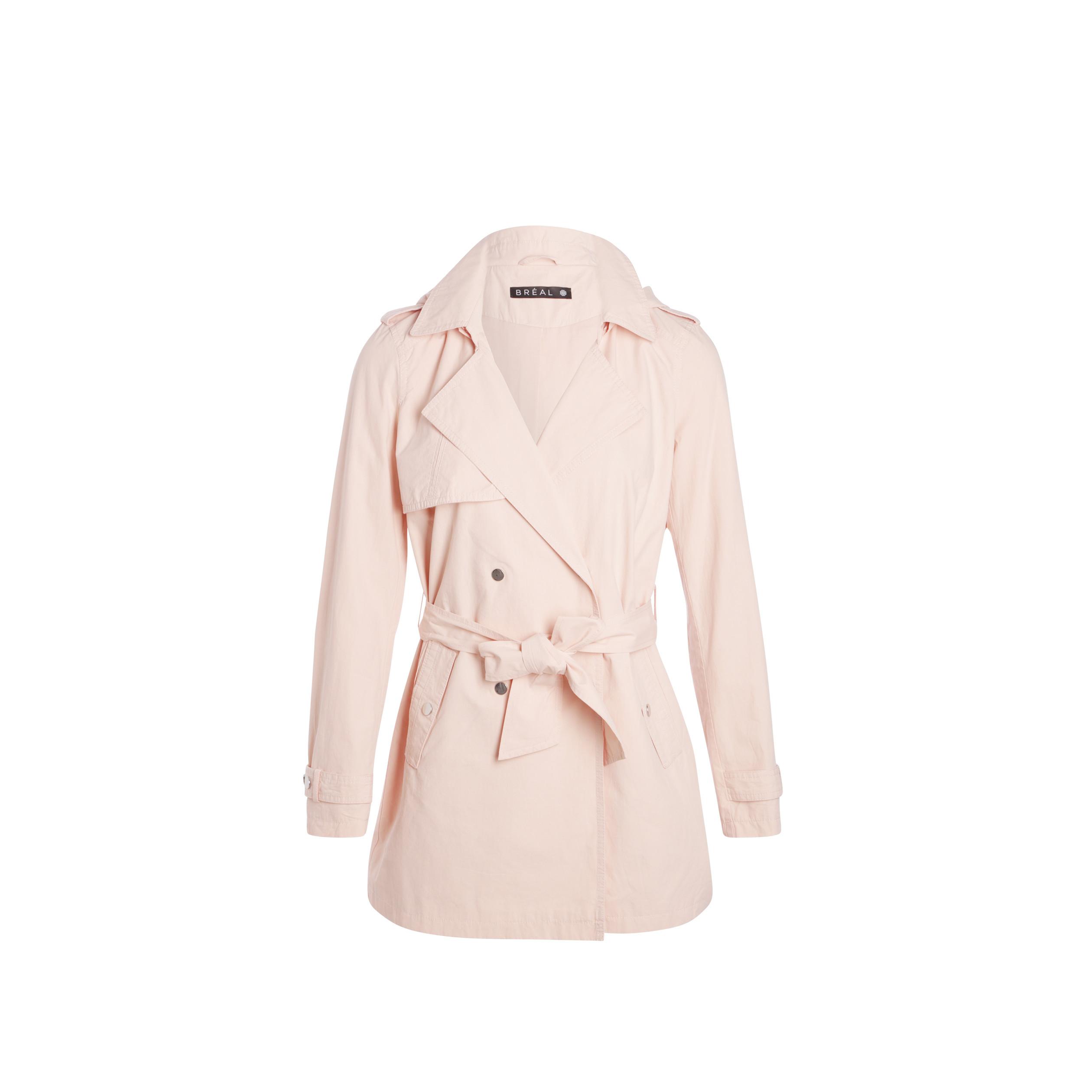 9468887a47 Trench droit coton à capuche rose clair femme | Bréal
