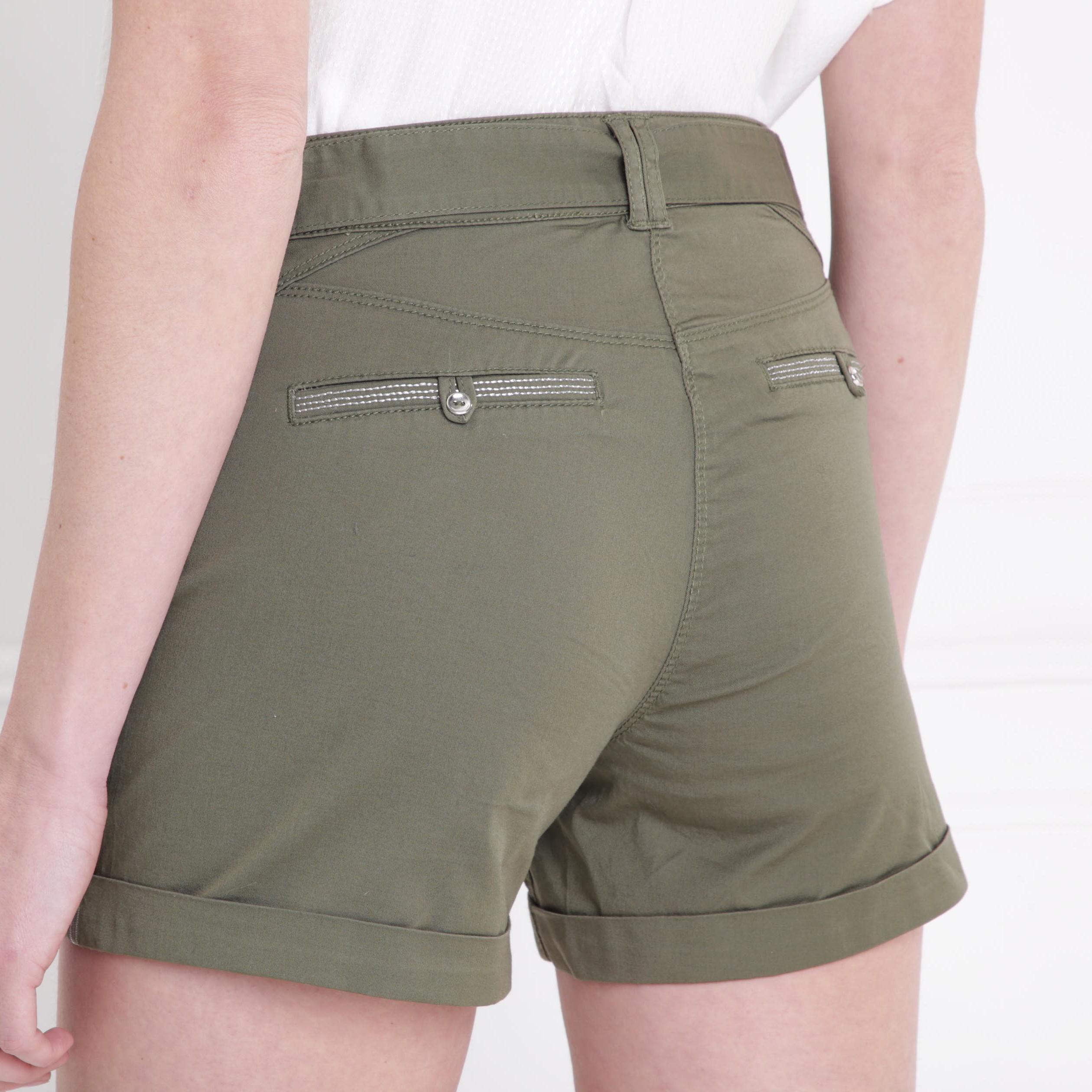 464084600e5 Short droit taille standard vert kaki femme femme