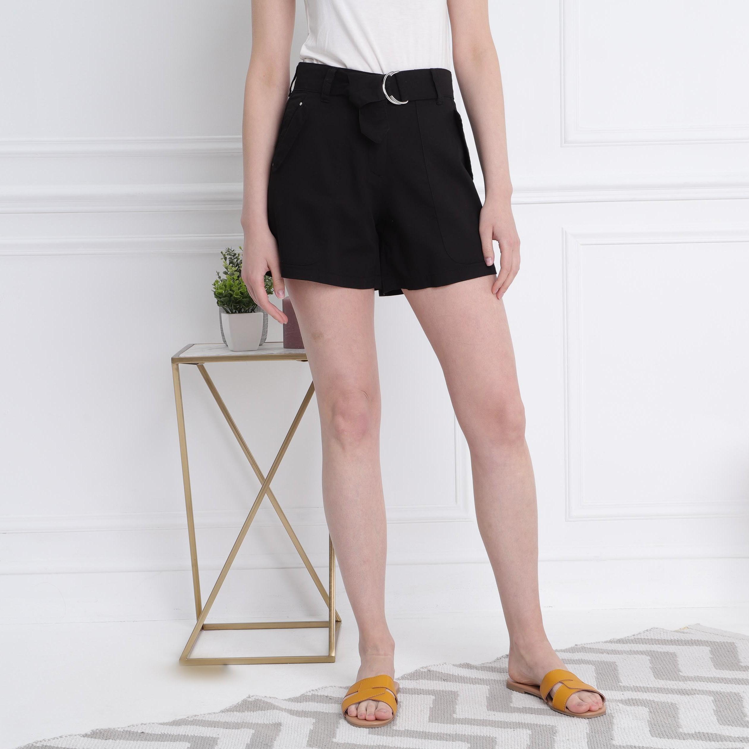 Short Femme Noir Droit Standard Taille bf7Y6gyvI