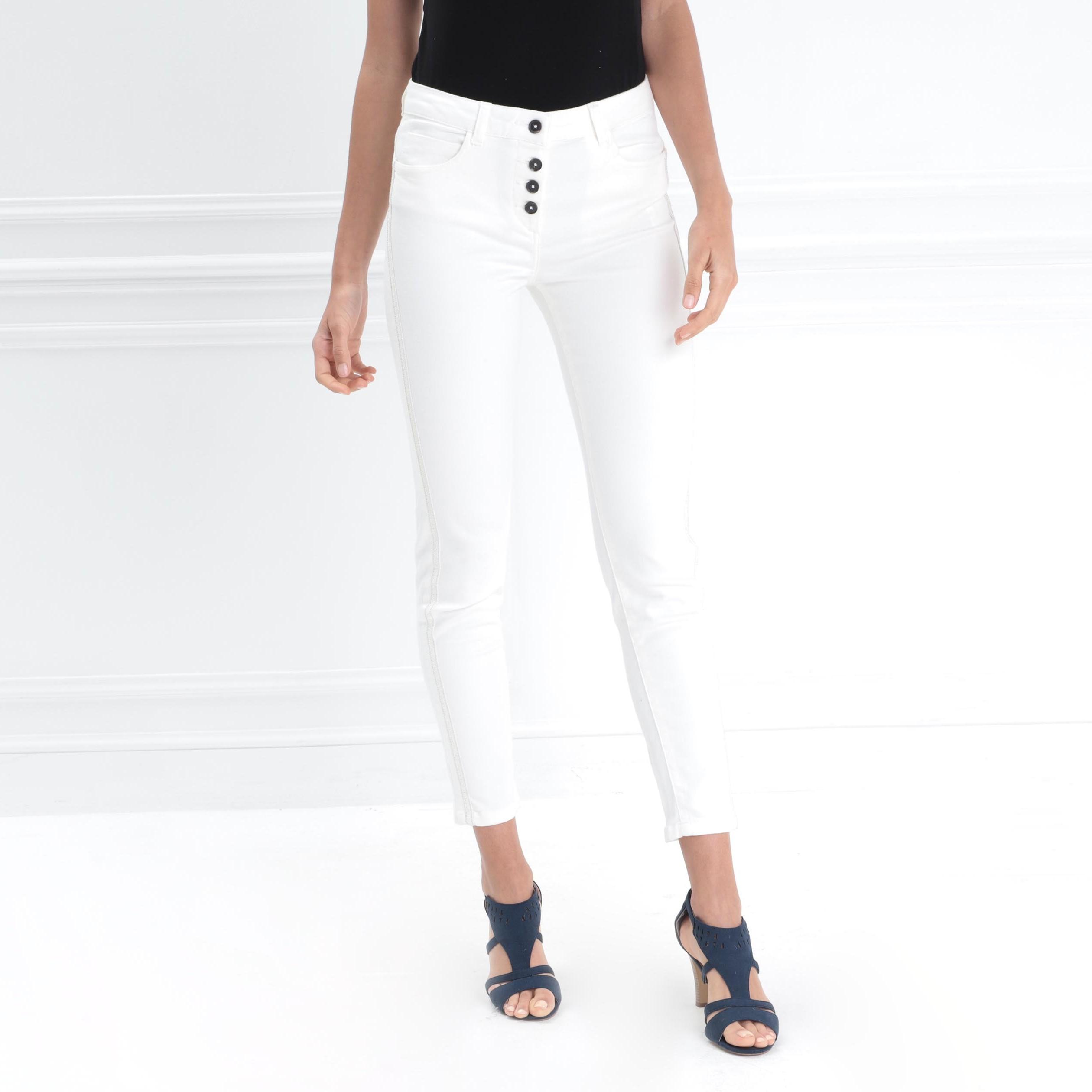 Ecru Taille Femme Haute Slim Pantalon 6mbY7yvIfg