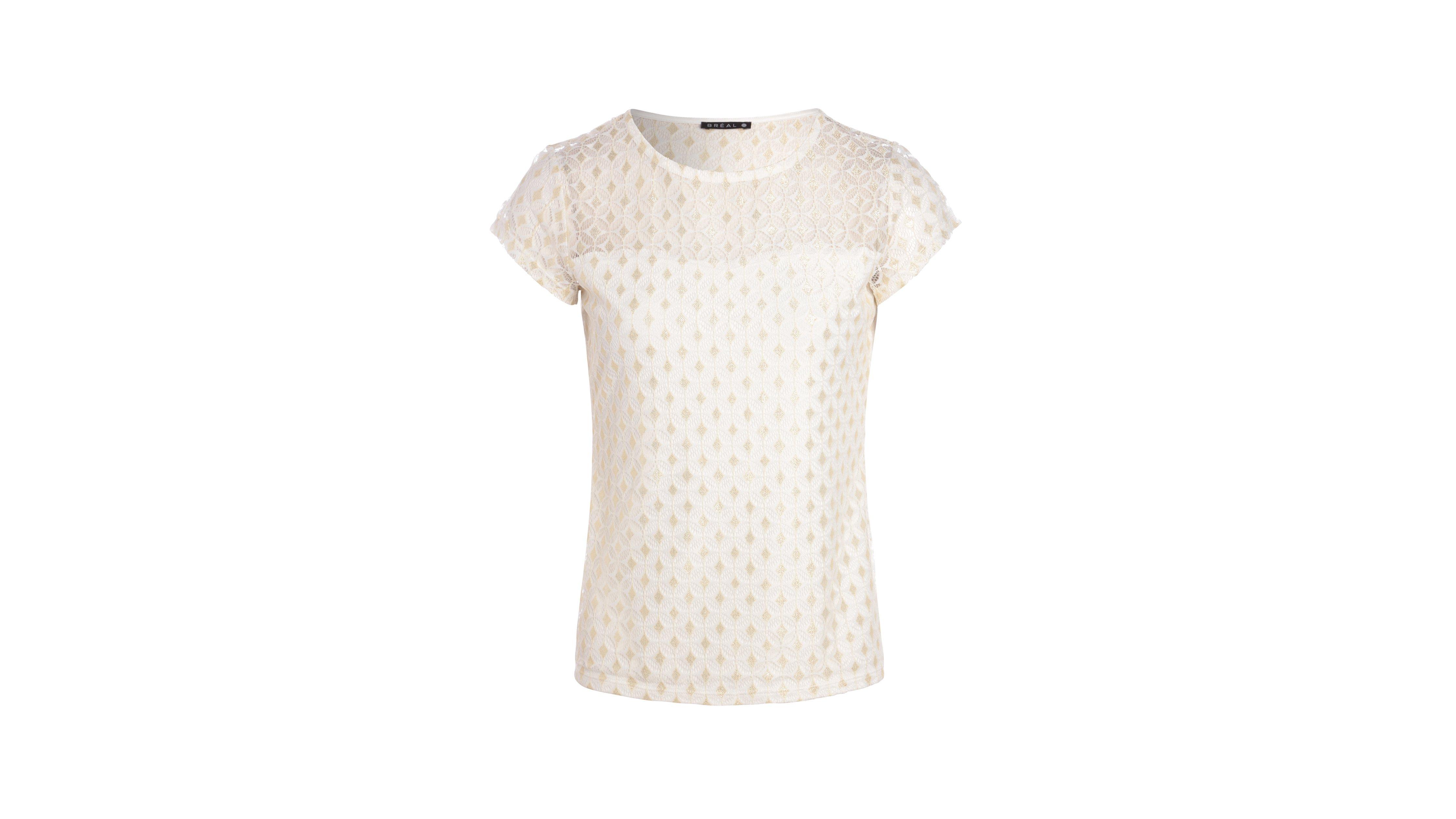T Ecru Femme Uni Maille Brillante Shirt SGVUzMqp