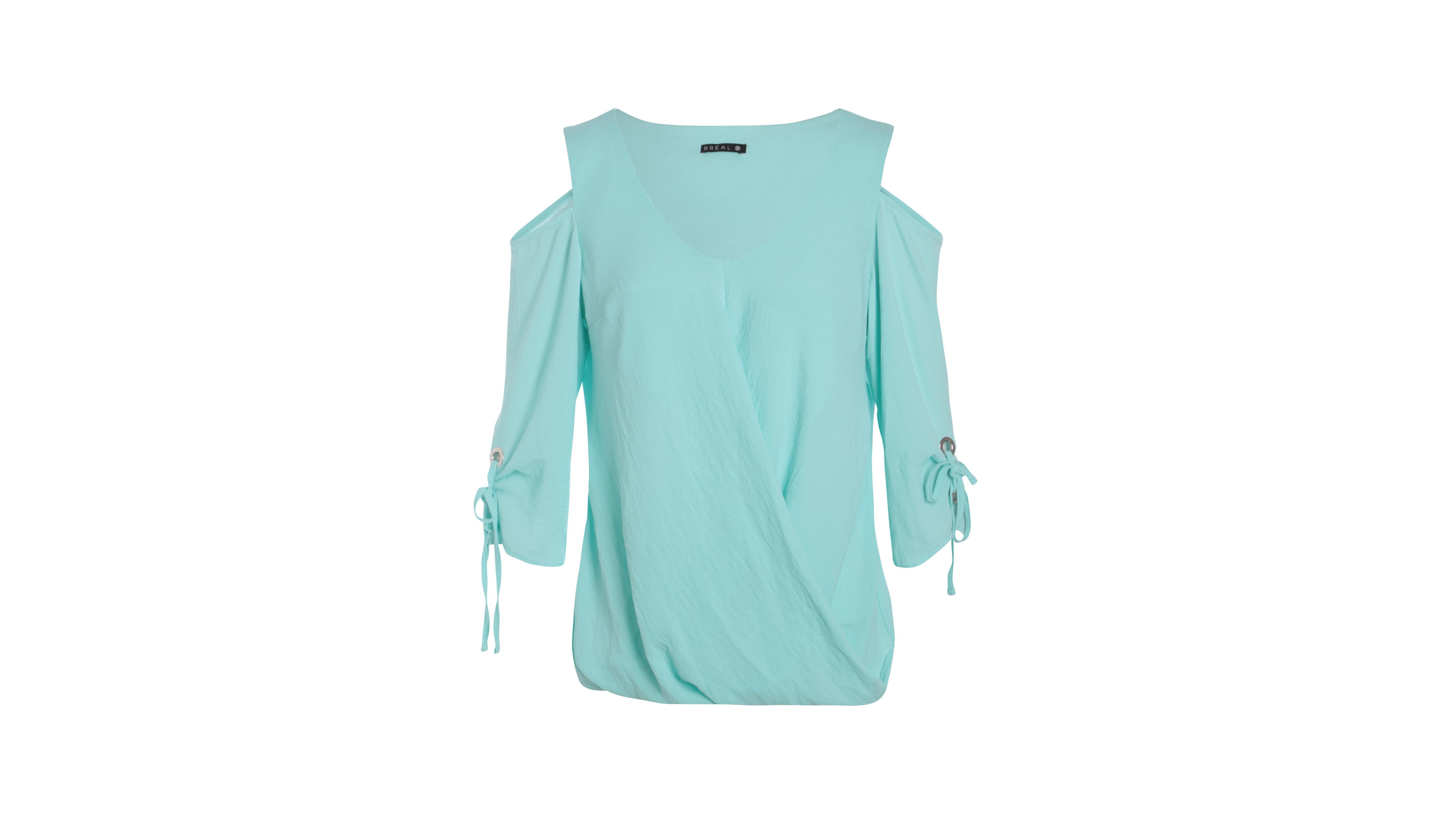 Chemise Bleu Unie Femme Ajourées Épaules 08OkPnw