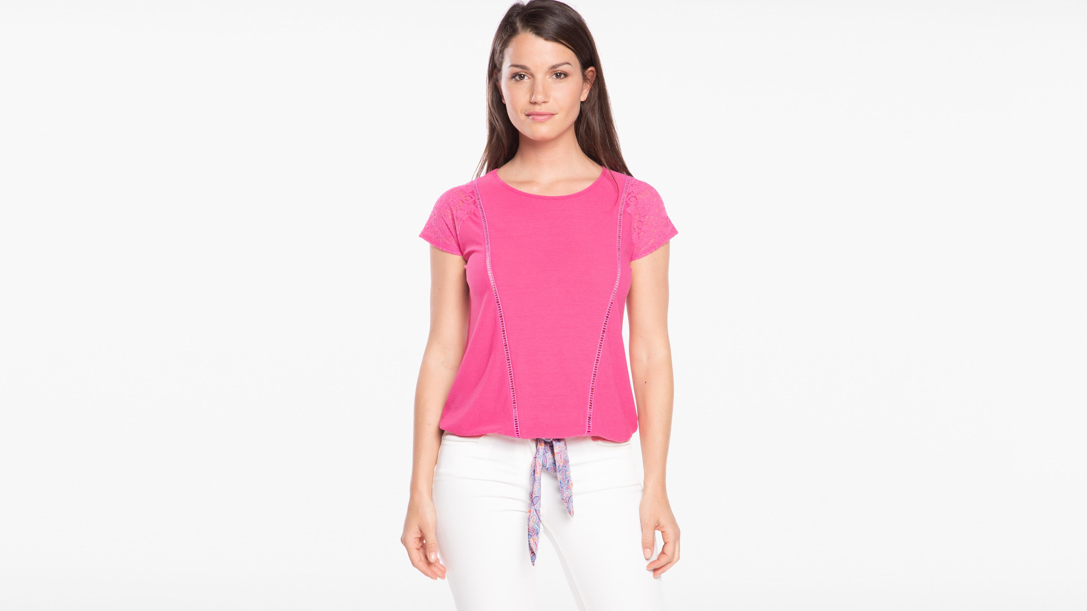 754e6a94012 T-shirt col rond manches en dentelle rose fushia femme femme