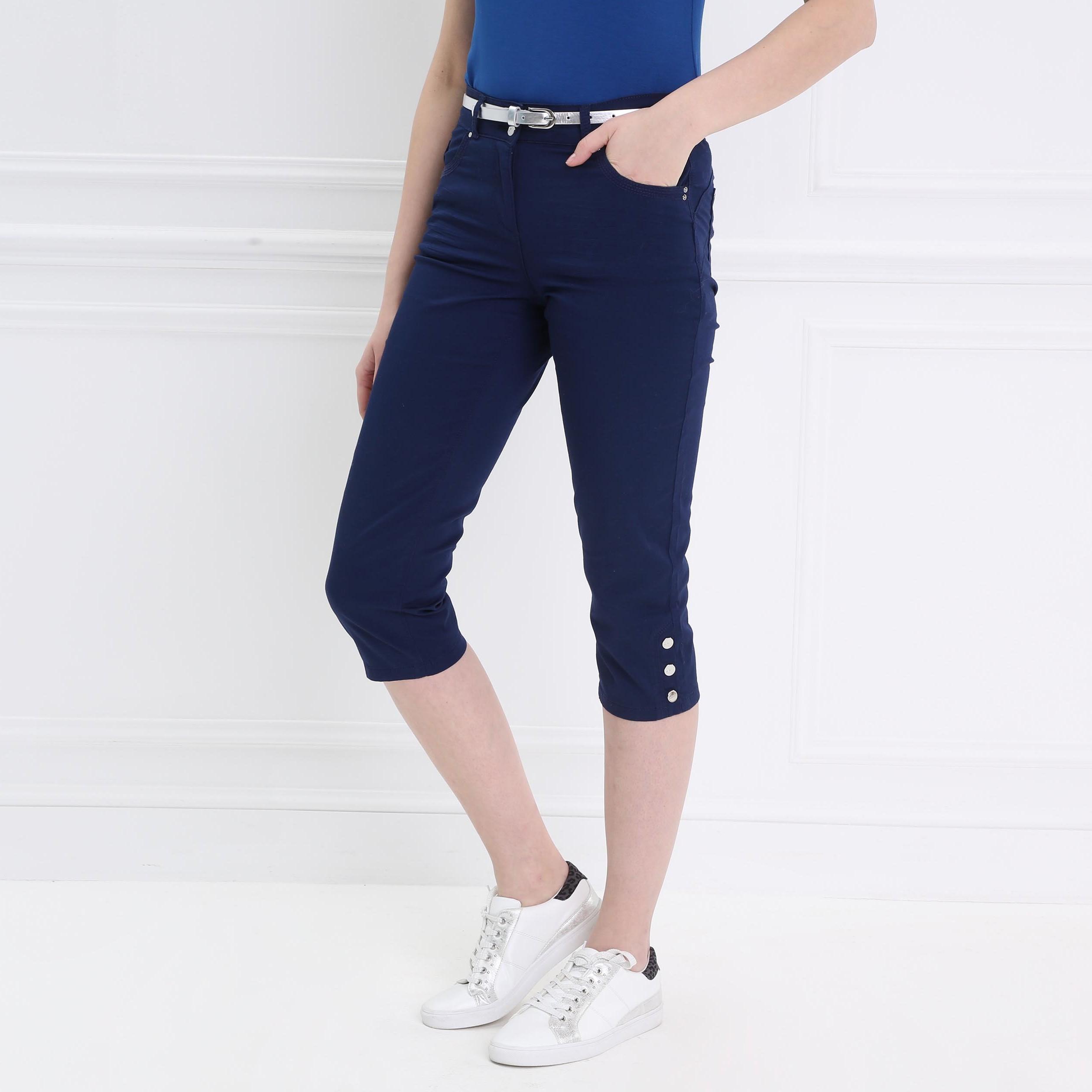corto ajustable Pantalón marino con para corsario azul mujer ajustado 3T1lc5KuFJ