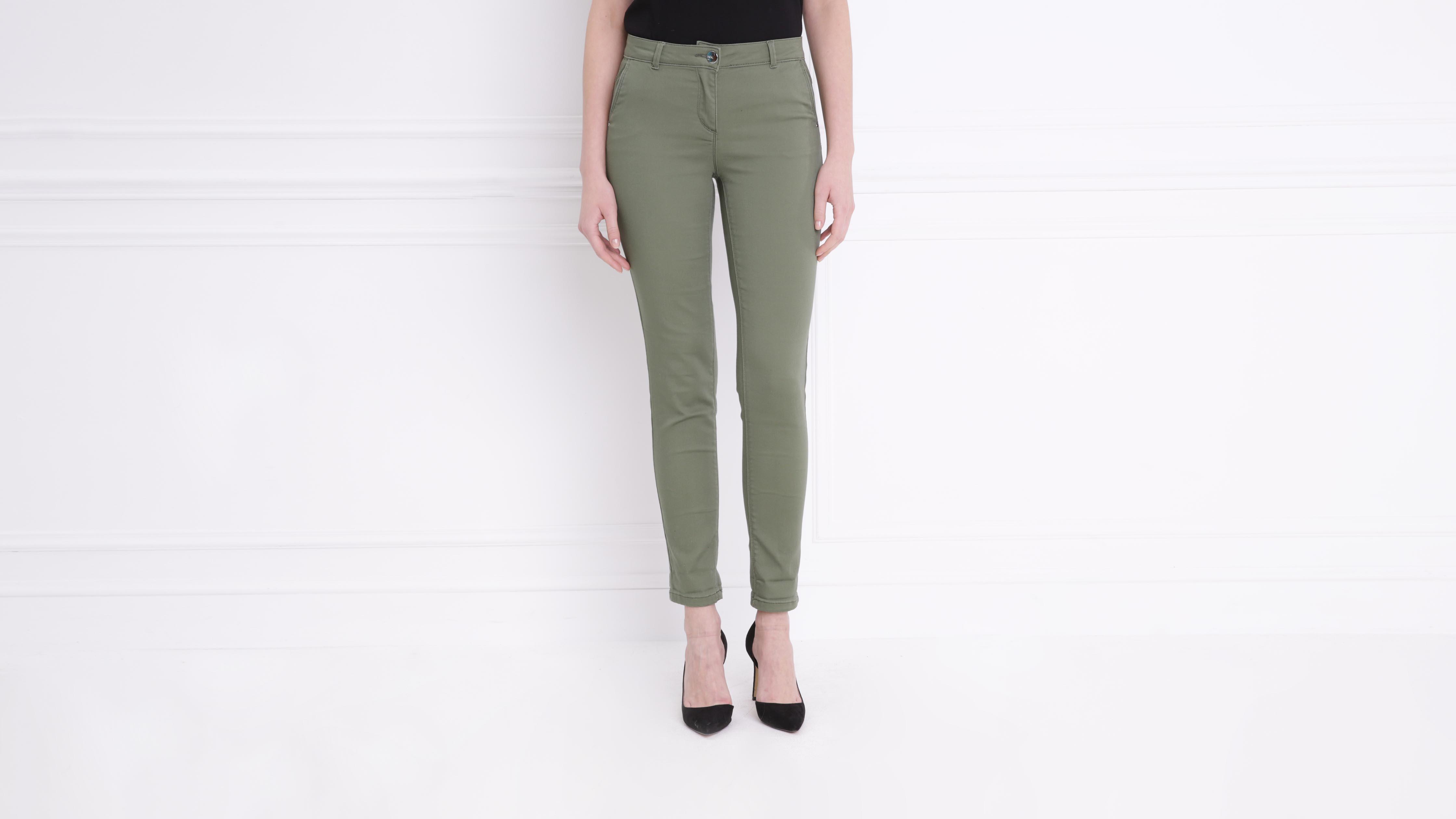 Pantalon Standard Kaki Vert Taille Femme PuOZXiTk