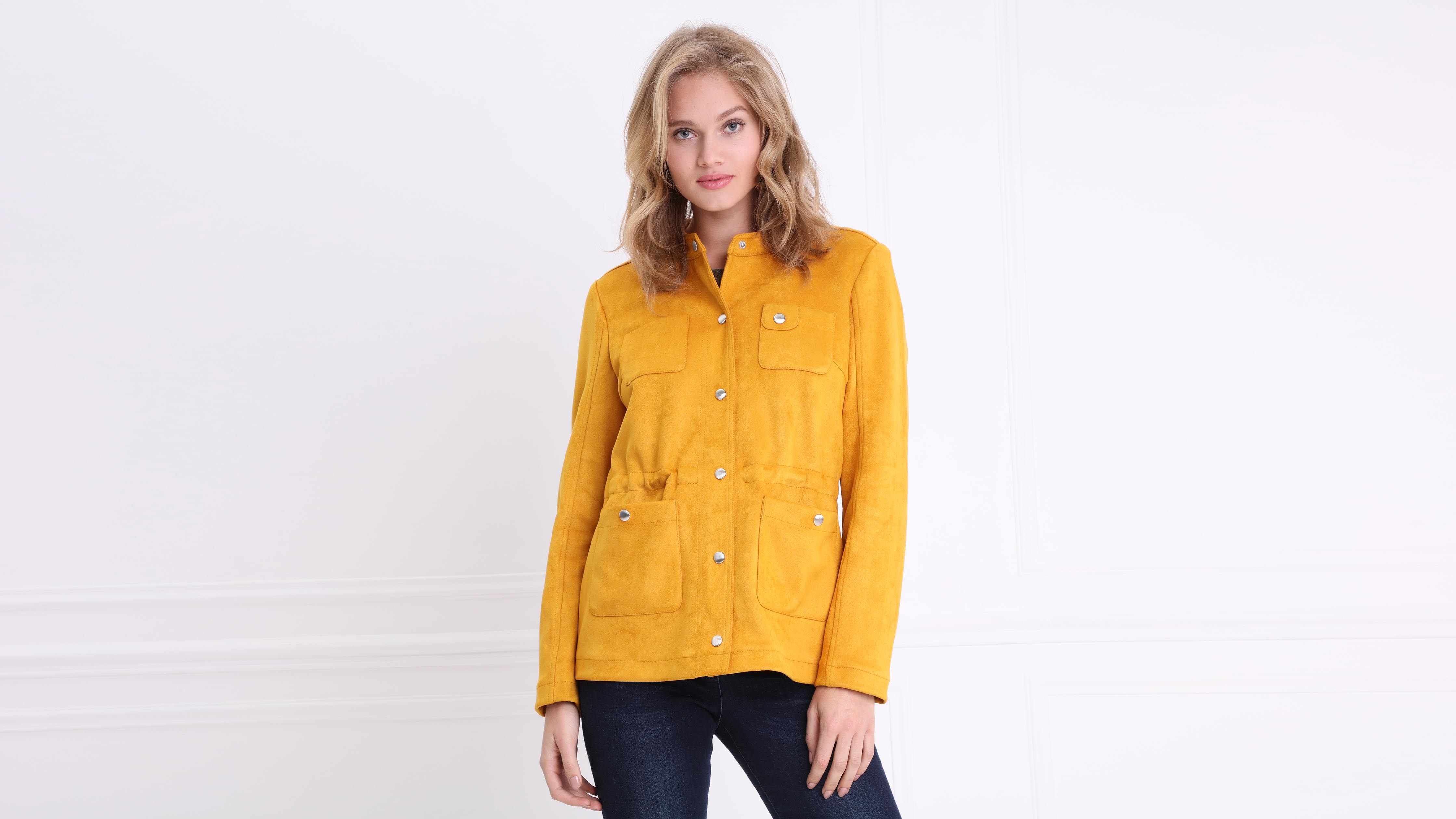 gamuza amarilla para corta dorada Chaqueta de mujer 7g6yIYvmbf