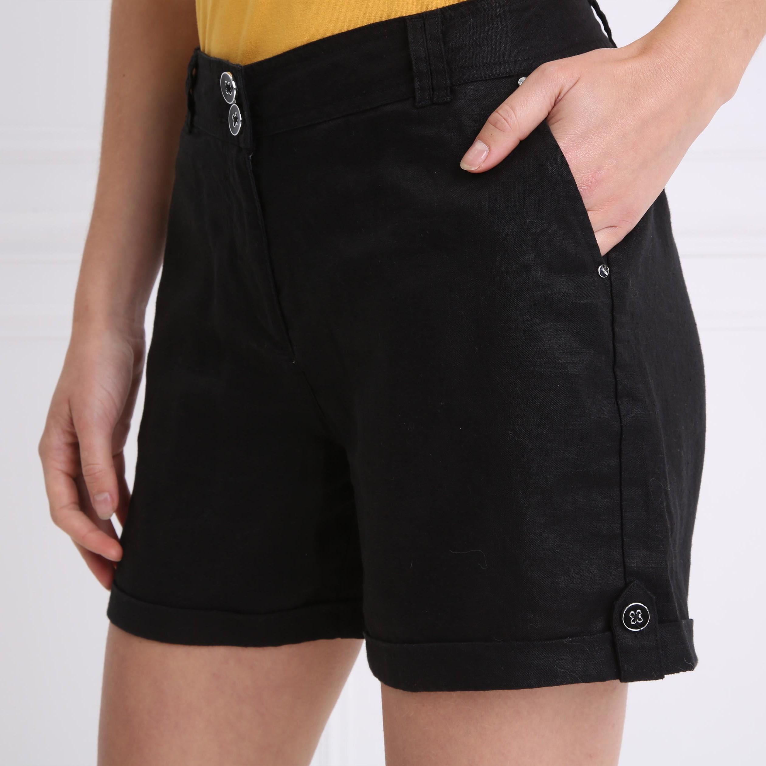 Pantalones negra cortos estándar Mujer Cintura rectos qGzpVUSM