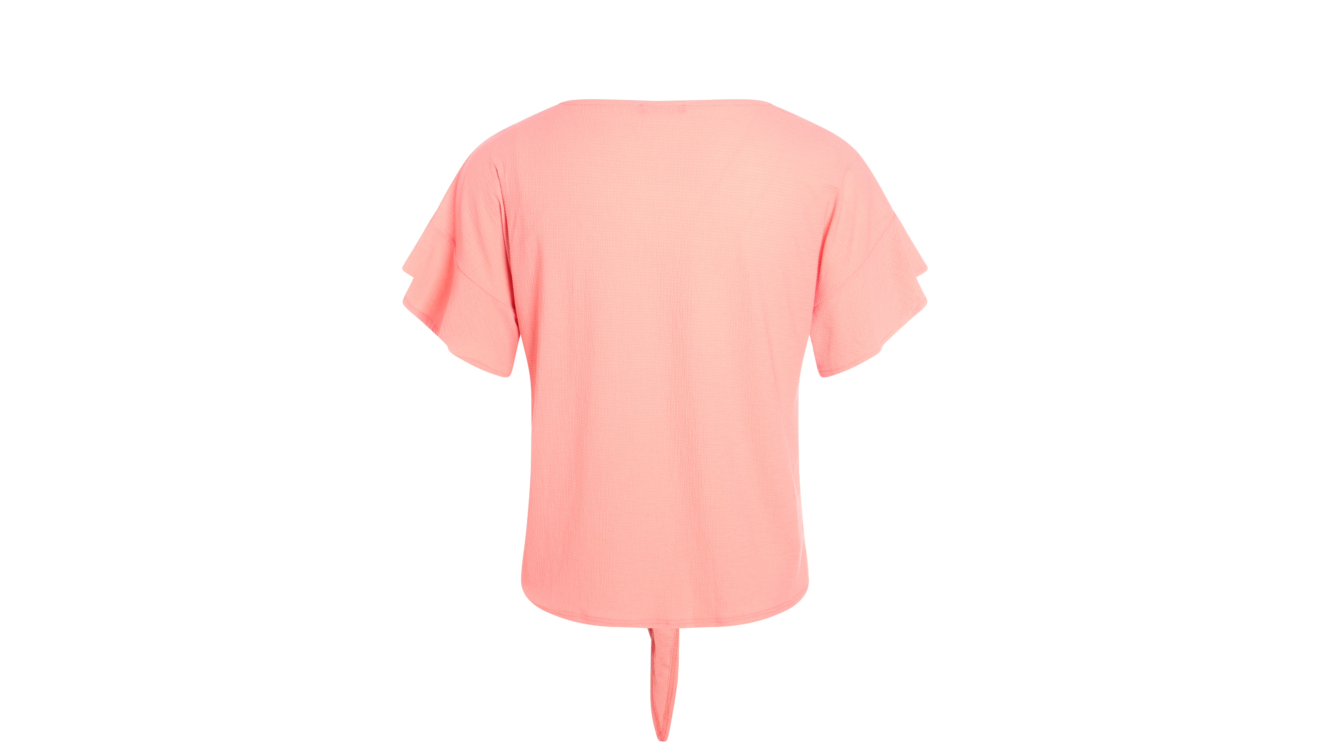 Coral Front Light Camiseta Tying Mujer In Orange IbgmYyf76v
