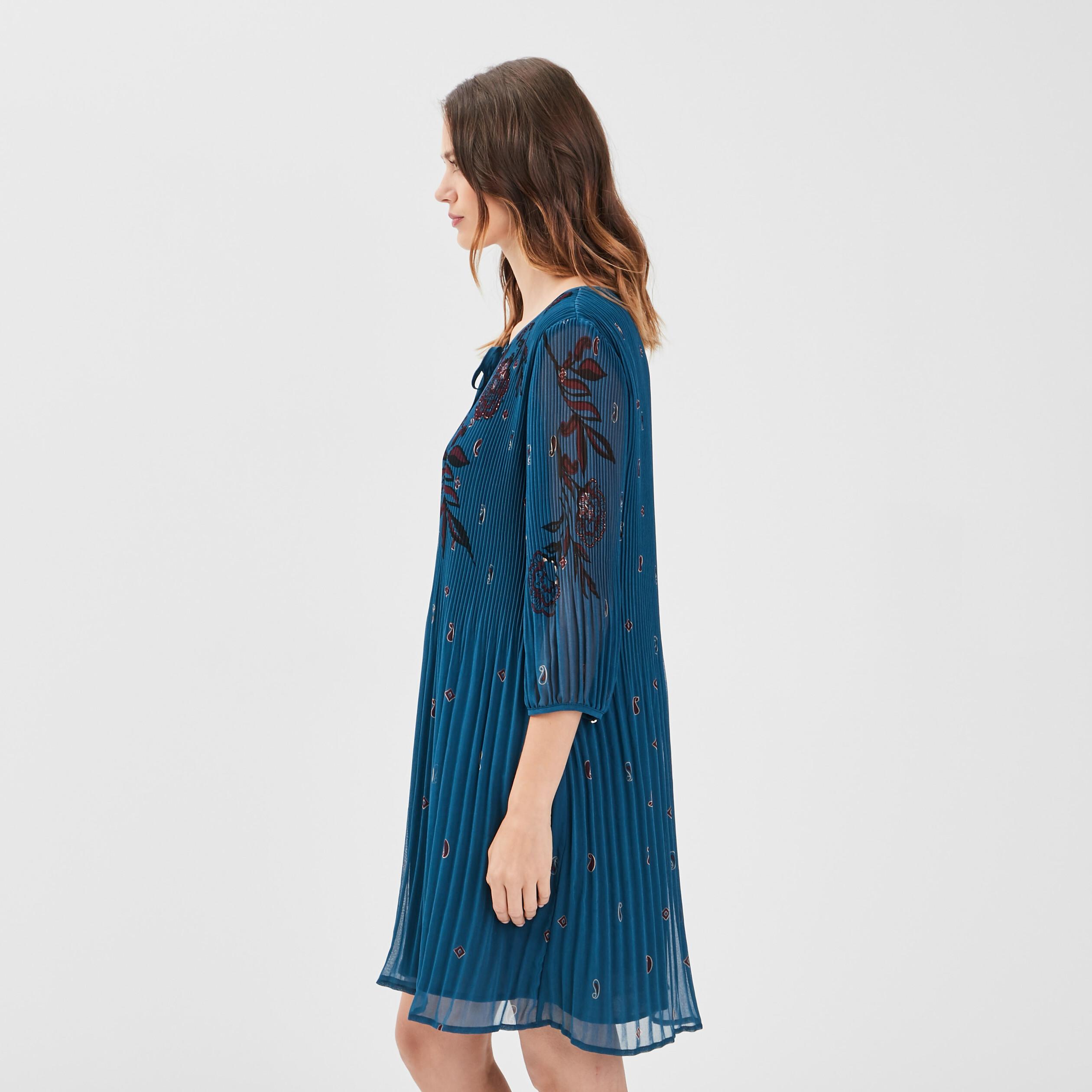 Robe Evasee Plissee Bleu Petrole Femme Breal
